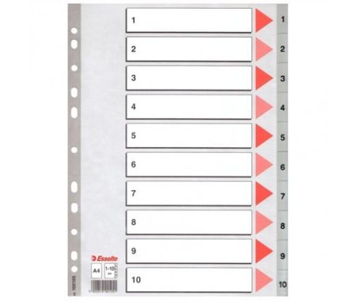 Esselte Regiszter, műanyag, A4, 1-10, szürke