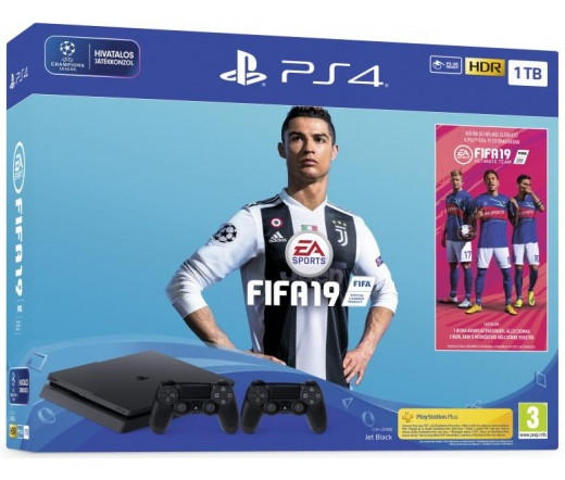 Sony PlayStation 4 Slim 1TB + FIFA 19 + 2db kontr.