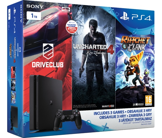 Sony PlayStation 4 Slim 1TB + DC + UC4 + R&C