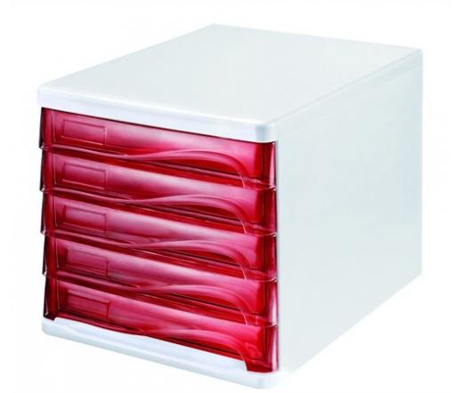 Helit Irattároló műanyag szürke/piros