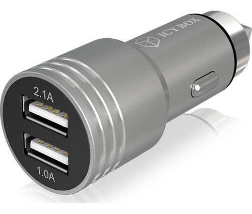 RaidSonic Icy Box 2 USB portos alu autós töltő
