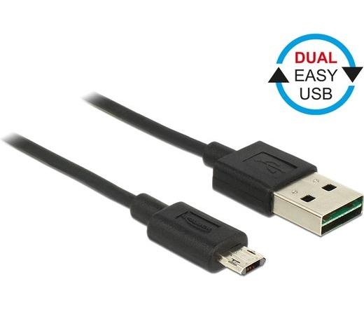 Delock EASY-USB A > EASY-USB micro-B 0,2m fekete