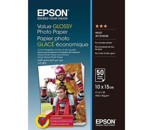 Epson gazdaságos fényes fotópapír 10x15cm 50lap