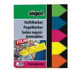 Sigel Jelölőcímke, műanyag, 5x40 lap, vegyes szín