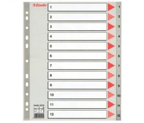 Esselte Regiszter, műanyag, A4 maxi, 1-12 szürke