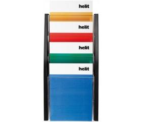Helit Katalógustartó, fali, A4, 4 rekeszes, fekete