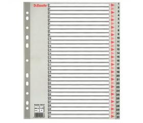 Esselte Regiszter, műanyag, A4 Maxi, 1-31, szürke