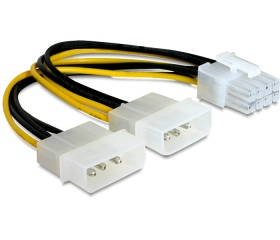 Delock 2 db Molex > PCI Express video 8 tűs táp