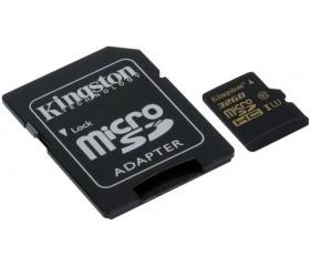 Kingston microSDHC Gold U3 90/45 32GB + adapter