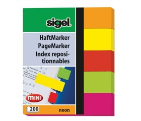 """Sigel Jelölőcímke, papír, Neon Mini"""", vegyes szín"""