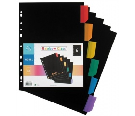 Viquel Regiszter műanyag, A4 Maxi, 6 részes fekete