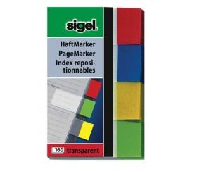 Sigel Jelölőcímke, műanyag, 4x40 lap, vegyes szín