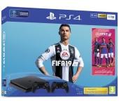 Sony PlayStation 4 Slim 1TB + FIFA 19 + 2db kontr.