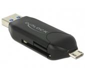 Delock Micro USB OTG-kártyaolvasó + USB 3.0 A