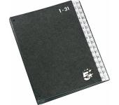 5 STAR Előrendező, A4, 1-31, karton, fekete