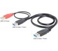 Delock USB 3.0-A apa > USB 3.0-A apa + USB áram