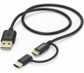 Hama USB 2.0 A / micro-B + Type-C 1m