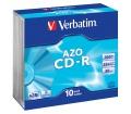 Verbatim CD-R AZO Crystal 700MB slim 10 db