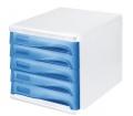Helit Irattároló, műanyag, 5 fiókos, szürke/kék
