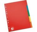 5 STAR Regiszter, karton, A4, 5 részes, színes
