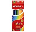 Kores Színes ceruza készlet, hatszögletű, 12 szín