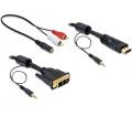 Delock DVI - HDMI kábel hanggal, apa - apa 2m