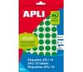 APLI etikett, 10 mm, kör, kézzel írható, zöld