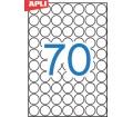 Apli etikett, 19 mm kör, A5 hordozón, 1050 etike